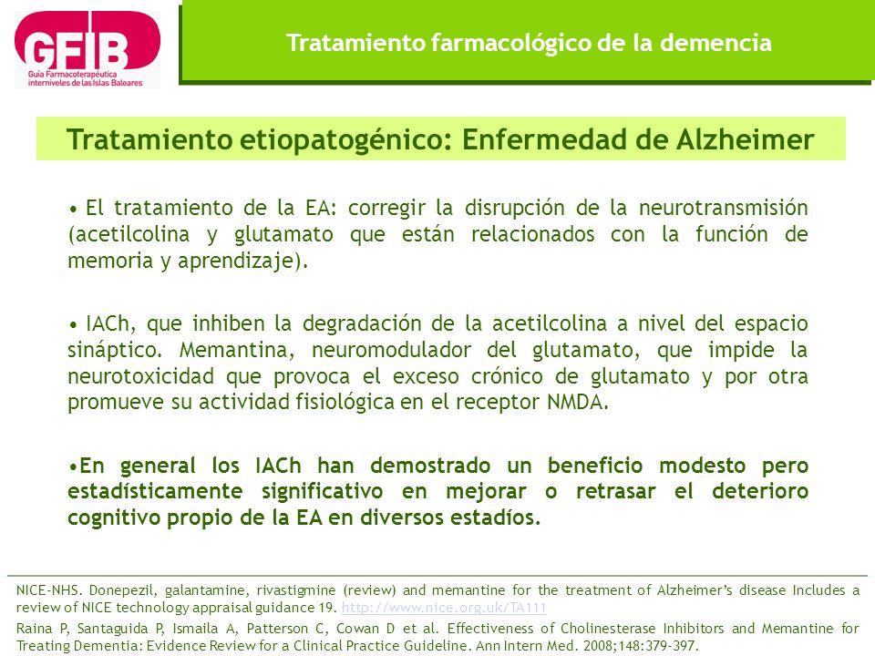 Tratamiento farmacológico de la demencia El tratamiento de la EA: corregir la disrupción de la neurotransmisión (acetilcolina y glutamato que están re
