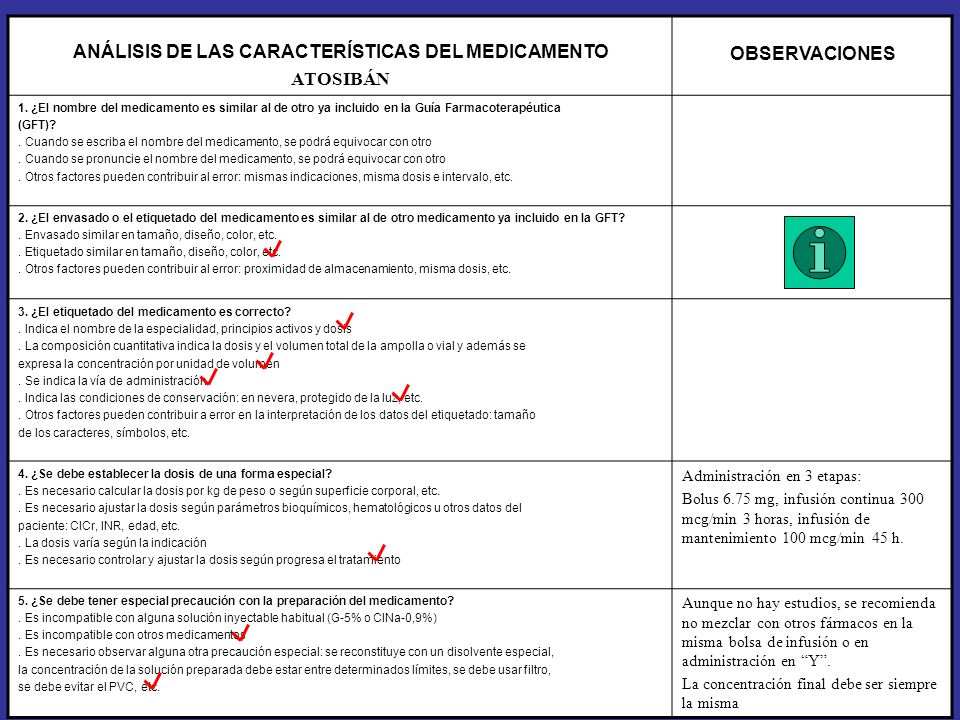 ANÁLISIS DE LAS CARACTERÍSTICAS DEL MEDICAMENTO ATOSIBÁN OBSERVACIONES 6.