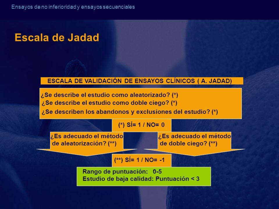 Ensayos de no inferioridad y ensayos secuenciales Escala de Jadad ESCALA DE VALIDACIÓN DE ENSAYOS CLÍNICOS ( A. JADAD) ¿Se describe el estudio como al
