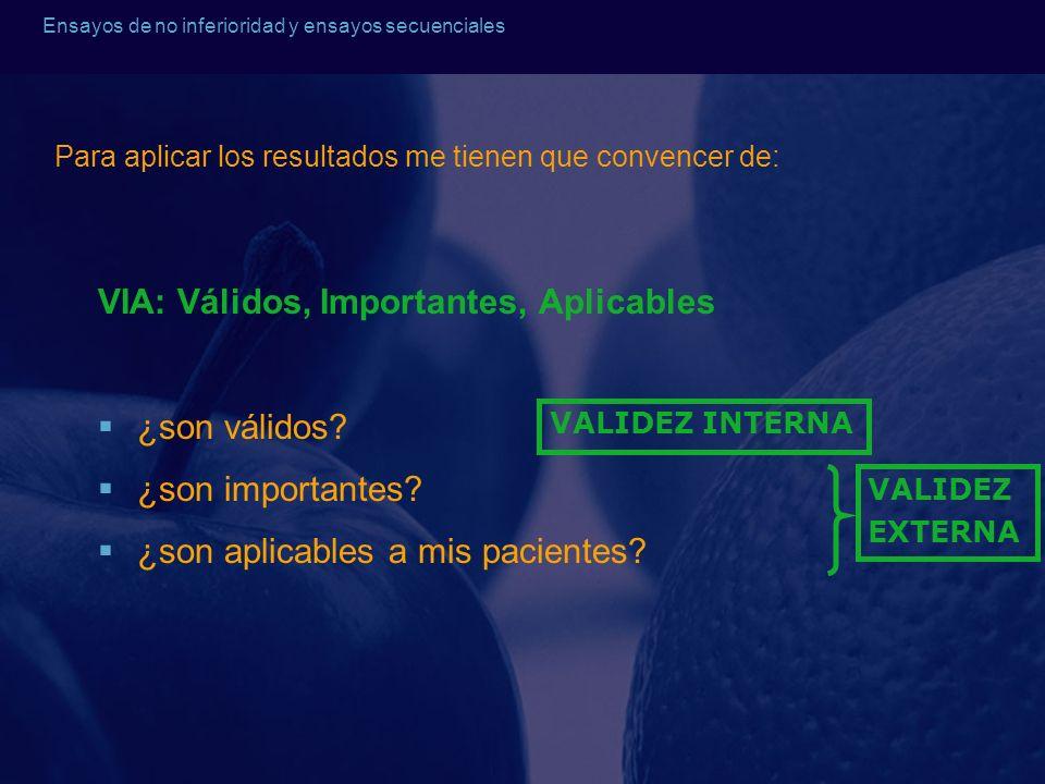Ensayos de no inferioridad y ensayos secuenciales VIA: Válidos, Importantes, Aplicables ¿son válidos? ¿son importantes? ¿son aplicables a mis paciente
