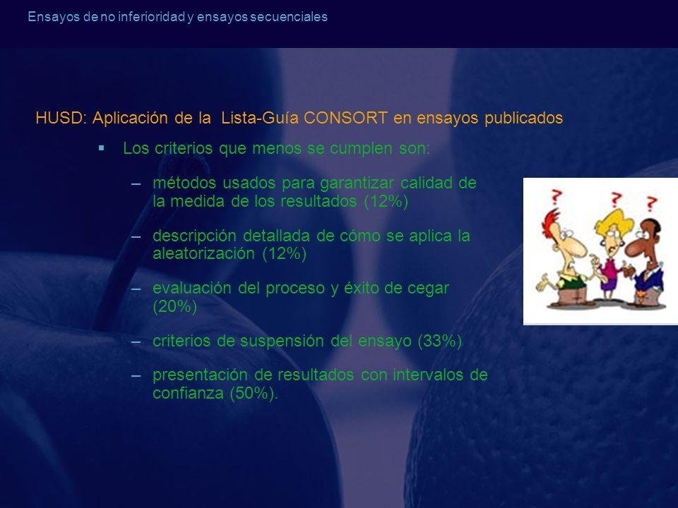 Ensayos de no inferioridad y ensayos secuenciales HUSD: Aplicación de la Lista-Guía CONSORT en ensayos publicados Los criterios que menos se cumplen s