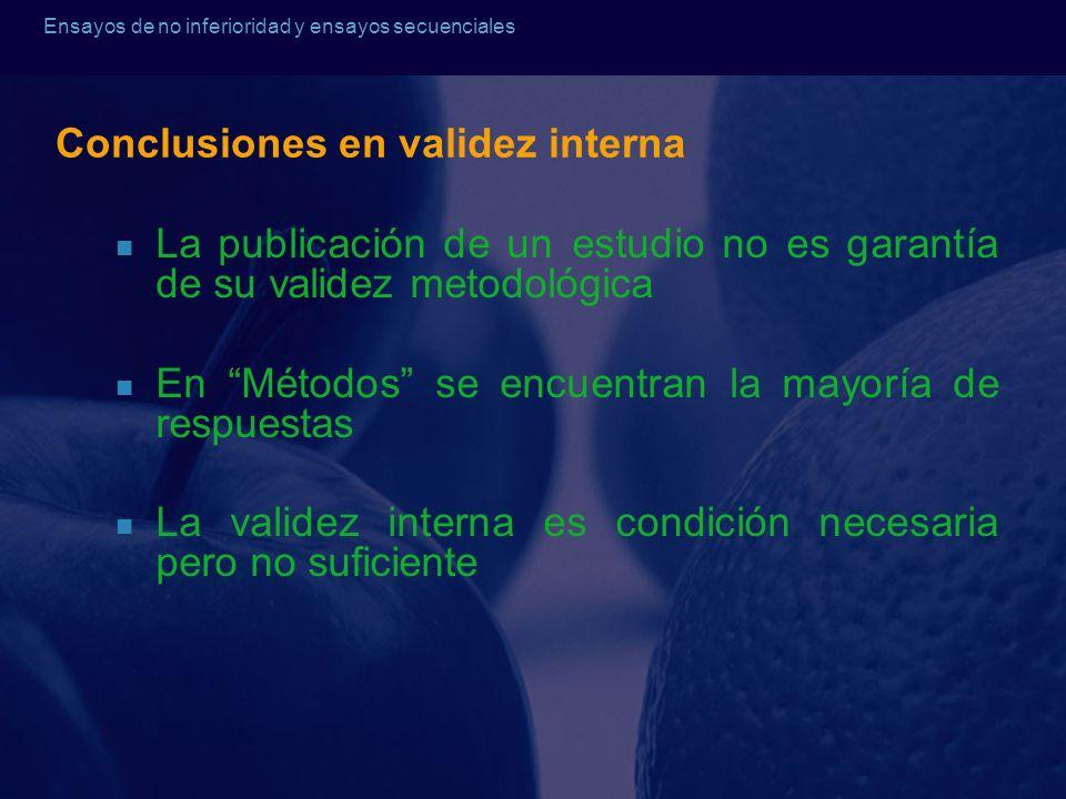 Ensayos de no inferioridad y ensayos secuenciales Conclusiones en validez interna La publicación de un estudio no es garantía de su validez metodológi
