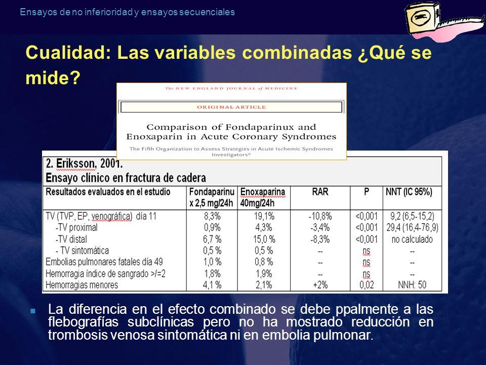 Ensayos de no inferioridad y ensayos secuenciales Cualidad: Las variables combinadas ¿Qué se mide? La diferencia en el efecto combinado se debe ppalme