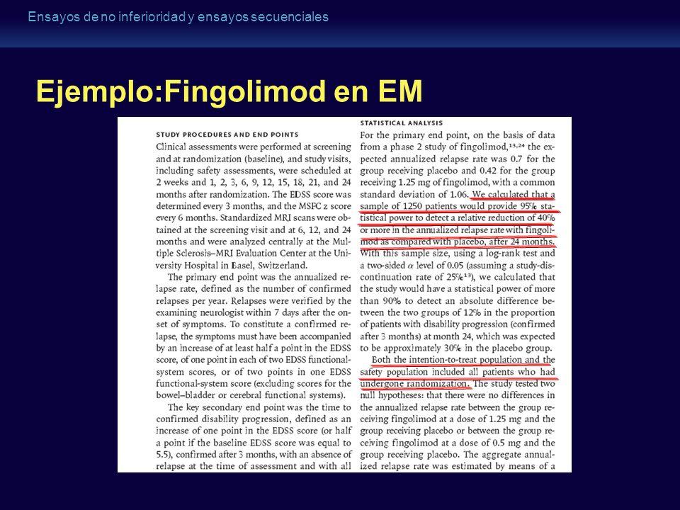 Ensayos de no inferioridad y ensayos secuenciales Ejemplo:Fingolimod en EM