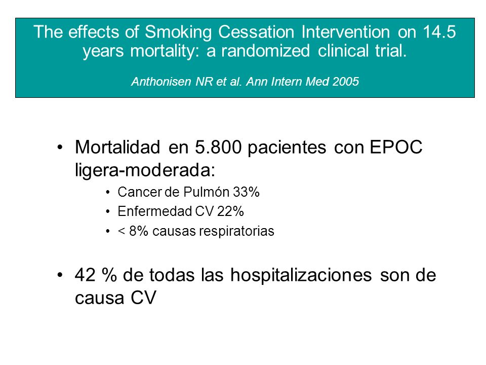 The effects of Smoking Cessation Intervention on 14.5 years mortality: a randomized clinical trial. Anthonisen NR et al. Ann Intern Med 2005 Mortalida