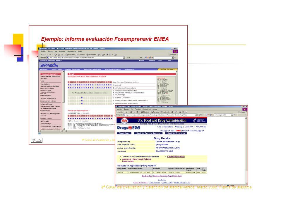 Ejemplo: informe evaluación Fosamprenavir FDA 4º Curso de Evaluación y Selección de Medicamentos.