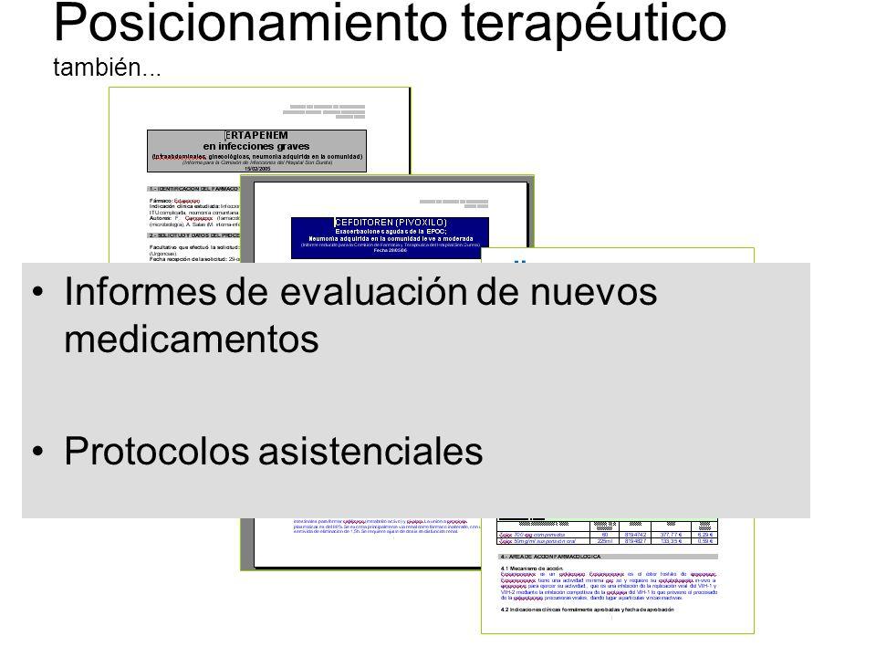 Informes de evaluación de nuevos medicamentos Protocolos asistenciales