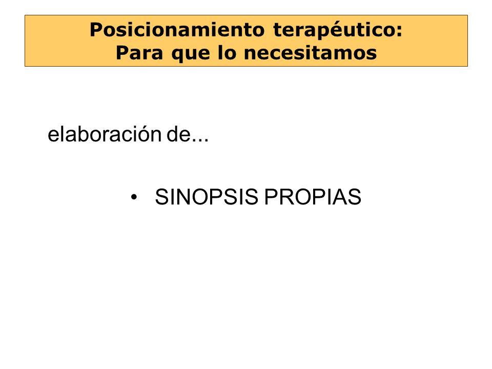 elaboración de... SINOPSIS PROPIAS Posicionamiento terapéutico: Para que lo necesitamos