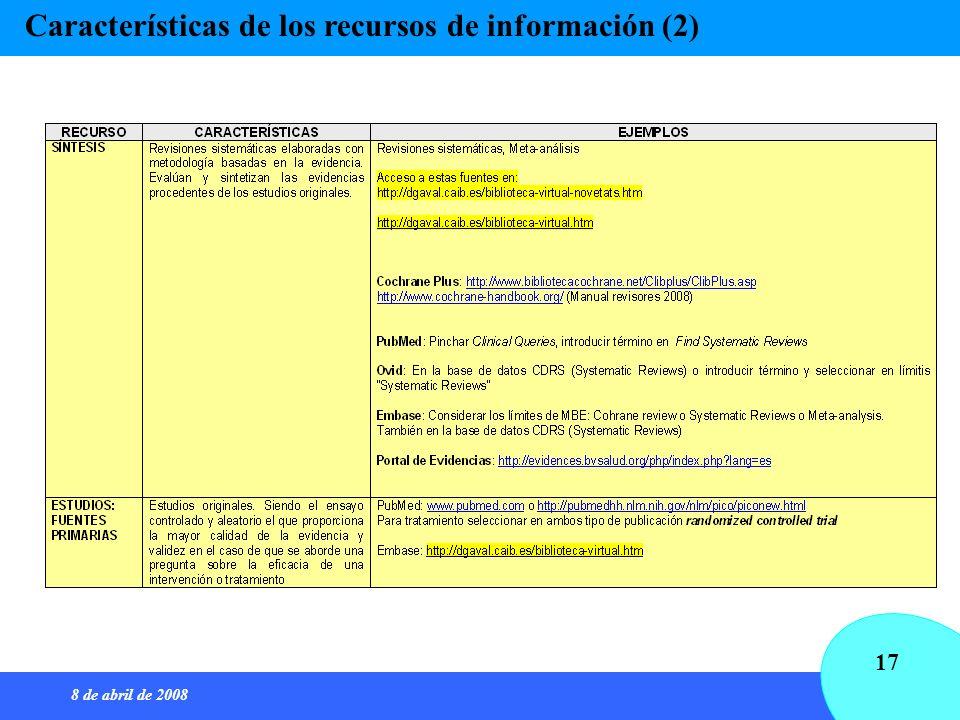 8 de abril de 2008 17 Características de los recursos de información (2)