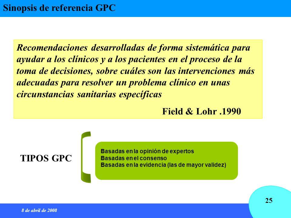 8 de abril de 2008 25 Sinopsis de referencia GPC Recomendaciones desarrolladas de forma sistemática para ayudar a los clínicos y a los pacientes en el