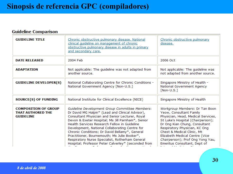 8 de abril de 2008 30 Sinopsis de referencia GPC (compiladores)