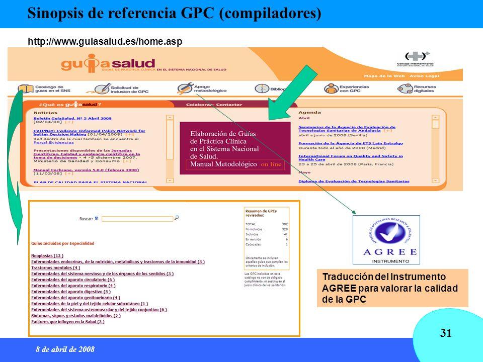 8 de abril de 2008 31 Sinopsis de referencia GPC (compiladores) http://www.guiasalud.es/home.asp Traducción del Instrumento AGREE para valorar la cali
