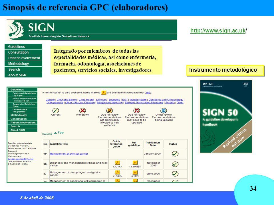 8 de abril de 2008 34 http://www.sign.ac.ukhttp://www.sign.ac.uk/ Instrumento metodológico Integrado por miembros de todas las especialidades médicas,