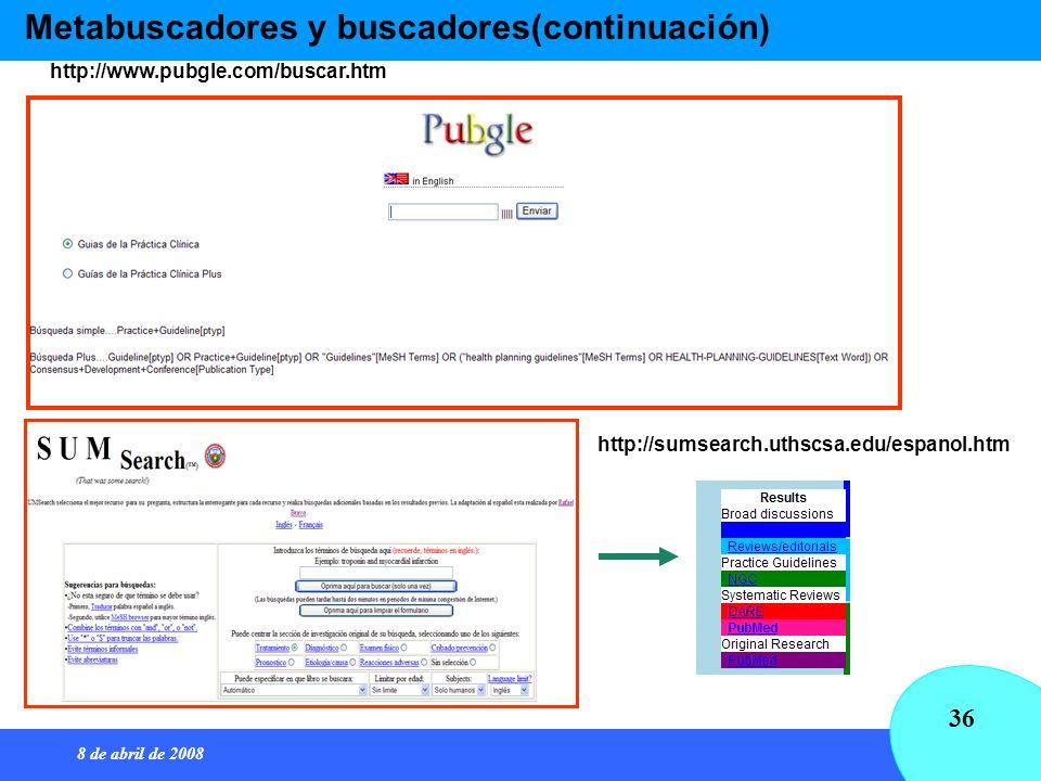8 de abril de 2008 36 Metabuscadores y buscadores(continuación) http://sumsearch.uthscsa.edu/espanol.htm http://www.pubgle.com/buscar.htm