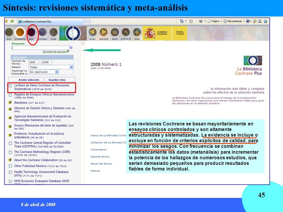 8 de abril de 2008 45 Síntesis: revisiones sistemática y meta-análisis Las revisiones Cochrane se basan mayoritariamente en ensayos clínicos controlad