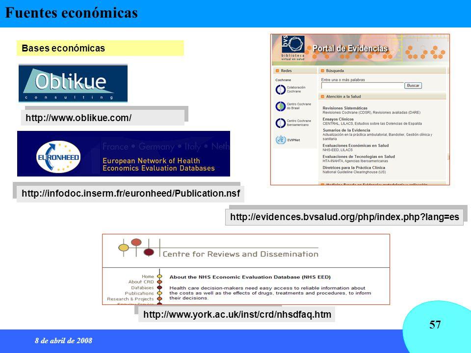 8 de abril de 2008 57 http://www.oblikue.com/ Bases económicas http://infodoc.inserm.fr/euronheed/Publication.nsf http://www.york.ac.uk/inst/crd/nhsdf