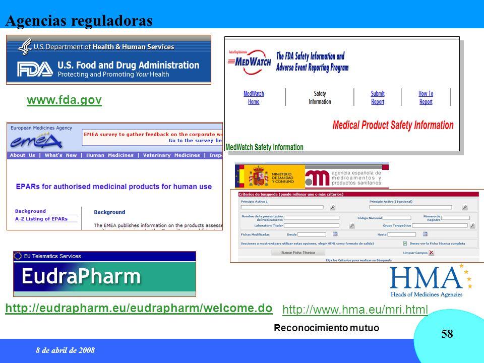 8 de abril de 2008 58 http://www.hma.eu/mri.html Reconocimiento mutuo http://eudrapharm.eu/eudrapharm/welcome.do www.fda.gov Agencias reguladoras