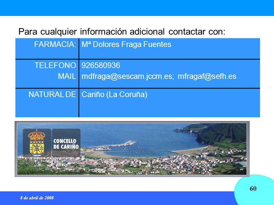 8 de abril de 2008 60 Para cualquier información adicional contactar con: FARMACIA:Mª Dolores Fraga Fuentes TELEFONO MAIL 926580936 mdfraga@sescam.jcc