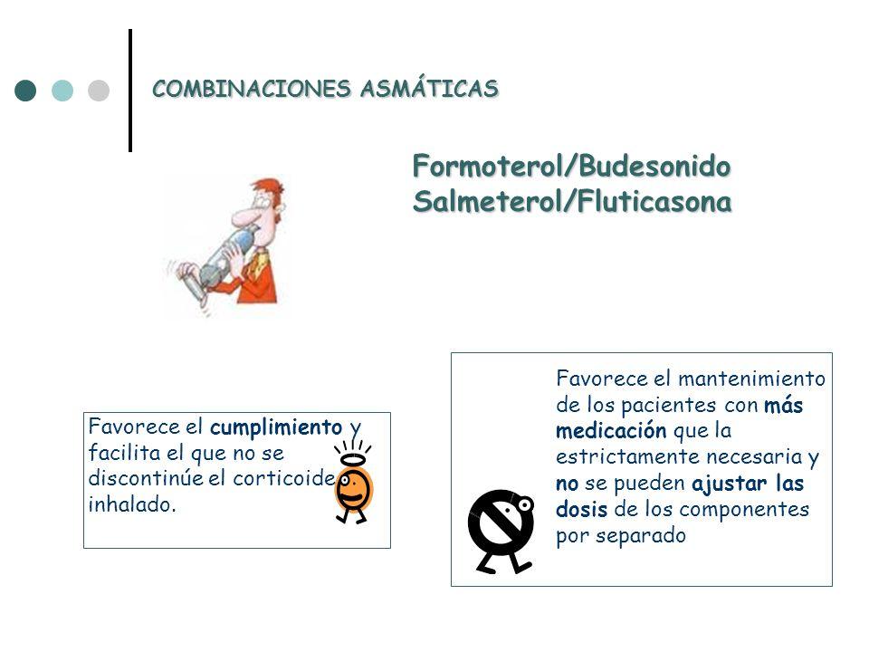 Formoterol/BudesonidoSalmeterol/Fluticasona Favorece el cumplimiento y facilita el que no se discontinúe el corticoide inhalado.