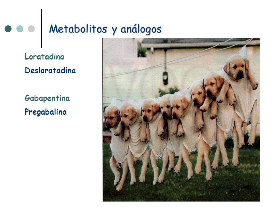 Metabolitos y análogos Loratadina Desloratadina Gabapentina Pregabalina