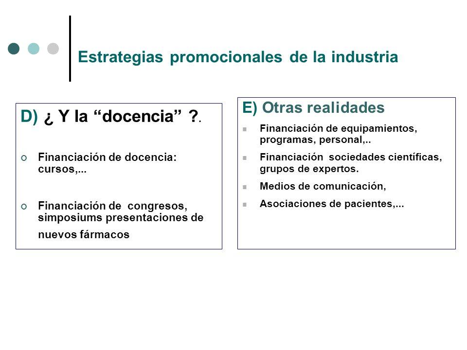 Estrategias promocionales de la industria D) ¿ Y la docencia .
