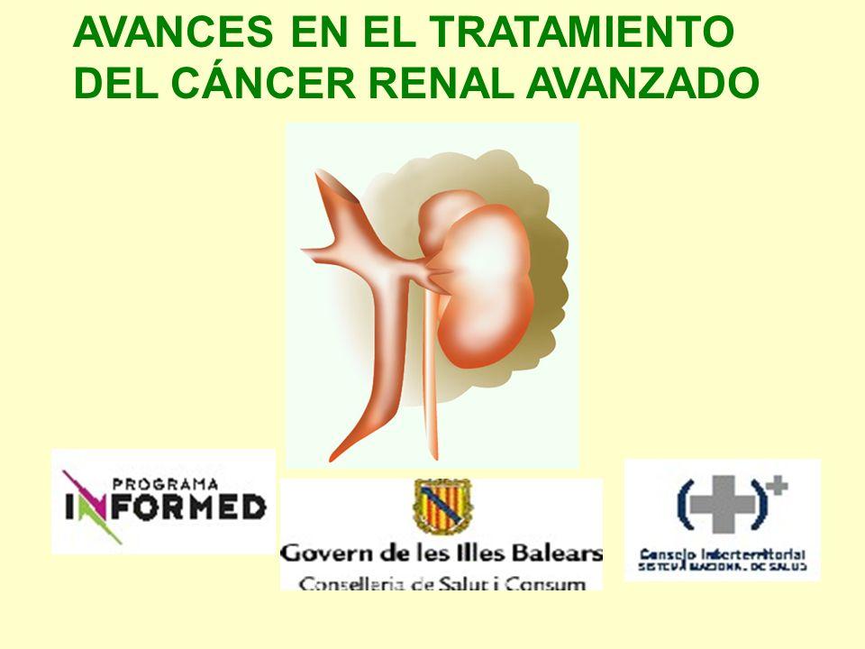 FASE III Tensirolimus vs IFNα vs combinación ambos (Hudes) OS TEMSR 10.9 m vs 7.3 m IFN vs 8.4 m combinación PFS similar 2 ramas TEMSR 3.7 m vs 1.9 m IFN monoterapia (p 0.0001) Ef adversos: astenia, anemia, nausea, disnea y rash TEMSR mejor tolerancia TEMSR 16% reducción proporción pacientes tox G3-4 Frecuencia G3-4: 69% TEMSR, 85% IFN, 87% combinación (p < 0.001)