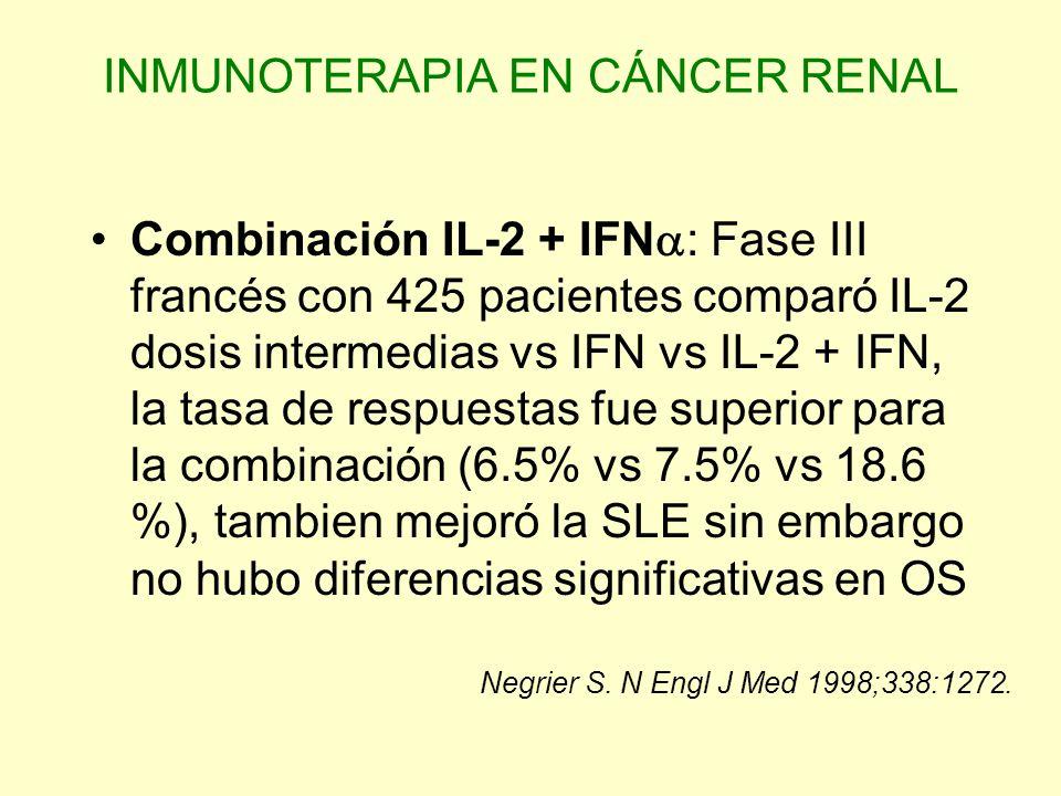 INMUNOTERAPIA EN CÁNCER RENAL Combinación IL-2 + IFN : Fase III francés con 425 pacientes comparó IL-2 dosis intermedias vs IFN vs IL-2 + IFN, la tasa