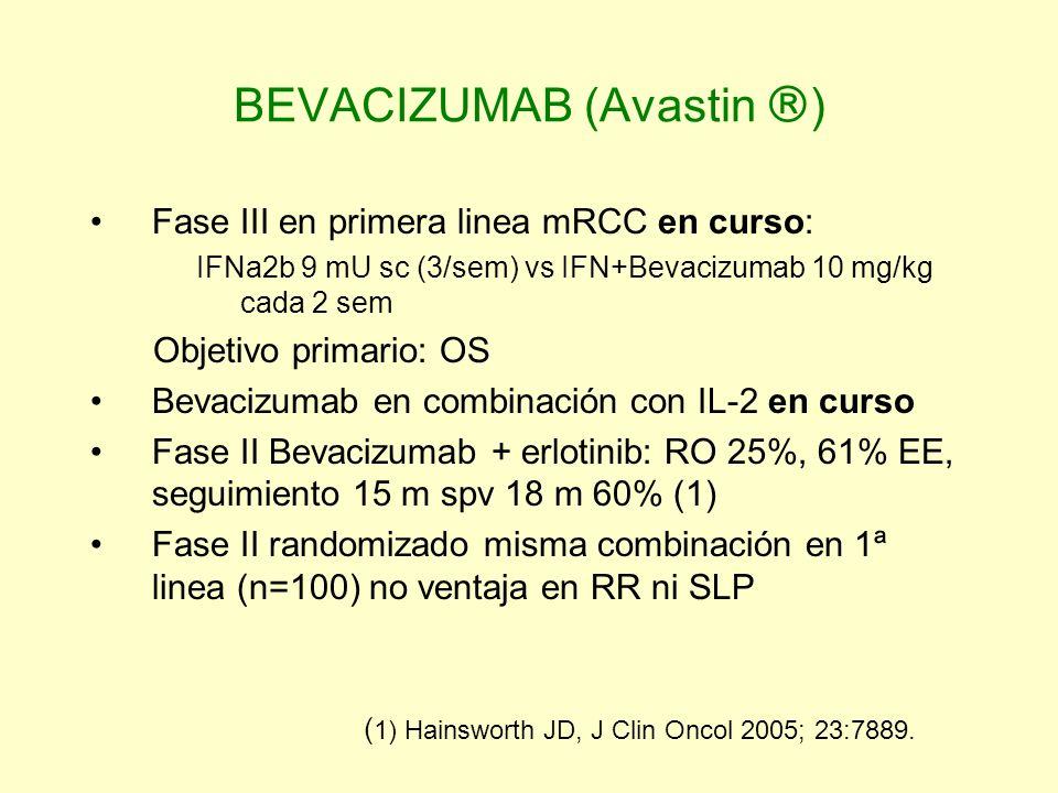 BEVACIZUMAB (Avastin ) Fase III en primera linea mRCC en curso: IFNa2b 9 mU sc (3/sem) vs IFN+Bevacizumab 10 mg/kg cada 2 sem Objetivo primario: OS Be