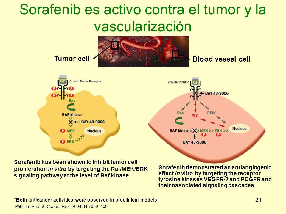 21 Sorafenib es activo contra el tumor y la vascularización Tumor cell Blood vessel cell Sorafenib has been shown to inhibit tumor cell proliferation