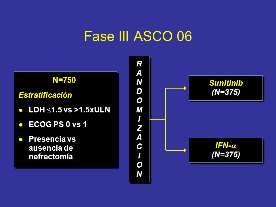 Fase III ASCO 06 N=750 Estratificación LDH 1.5 vs >1.5xULN ECOG PS 0 vs 1 Presencia vs ausencia de nefrectomía N=750 Estratificación LDH 1.5 vs >1.5xU