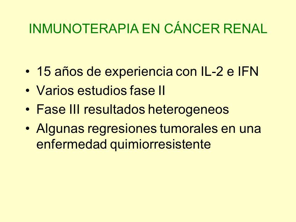 INMUNOTERAPIA EN CÁNCER RENAL 15 años de experiencia con IL-2 e IFN Varios estudios fase II Fase III resultados heterogeneos Algunas regresiones tumor