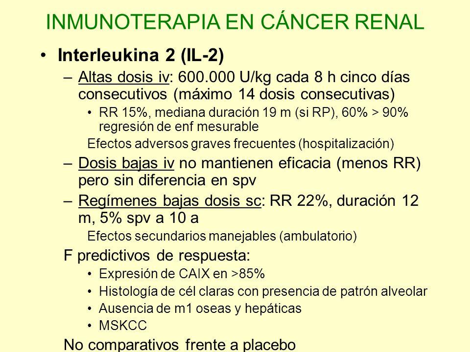 INMUNOTERAPIA EN CÁNCER RENAL Interferon (IFN ) –Monoterapia RR 15%, duración 4 m –Dosis diarias de 5-10 mU –Varios estudios aleatorizados han evaluado el impacto de IFN en spv demostrando un modesto beneficio Fase III Vinblastina frente a Vinblastina+IFN con mejor supervivencia para el tratamiento combinado (38 vs 68 sem) Estudio comparativo entre IFN y acetato de megestrol demuestra un 28% de reducción en el riesgo de muerte a favor de interferon y un aumento significativo en la mediana de supervivencia (8.5 vs 6 m).