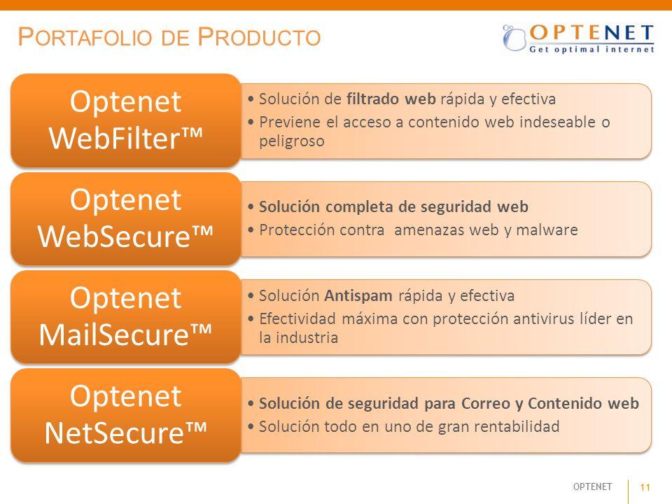 OPTENET 11 P ORTAFOLIO DE P RODUCTO Solución de filtrado web rápida y efectiva Previene el acceso a contenido web indeseable o peligroso Optenet WebFi