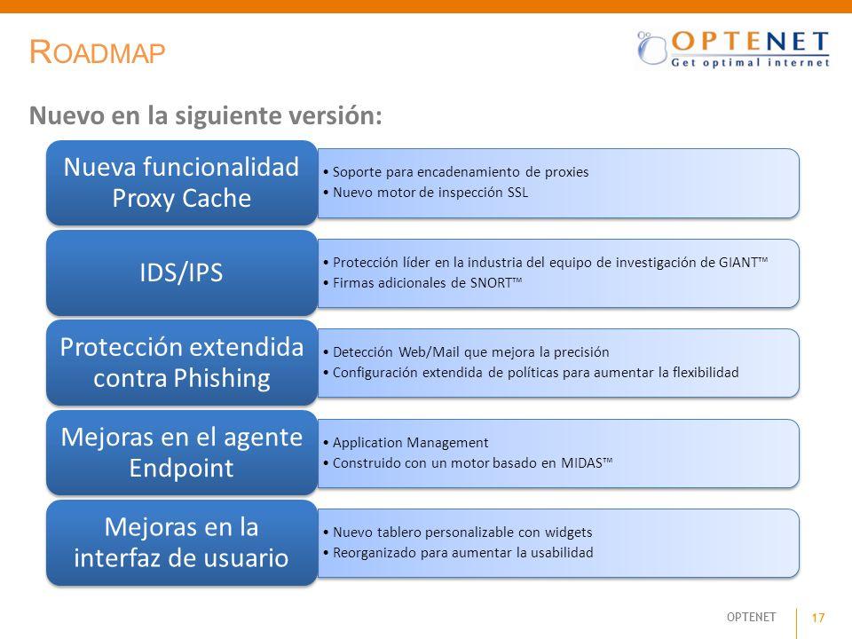 OPTENET 17 R OADMAP Soporte para encadenamiento de proxies Nuevo motor de inspección SSL Nueva funcionalidad Proxy Cache Protección líder en la indust