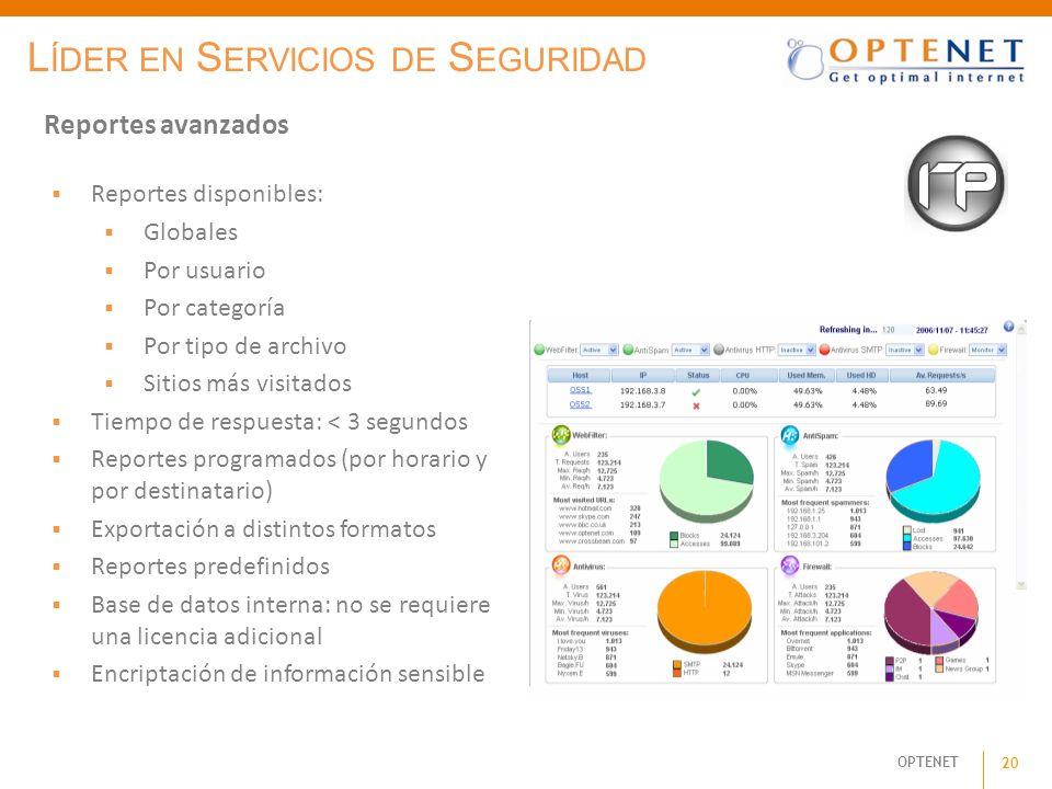 OPTENET 20 Reportes avanzados L ÍDER EN S ERVICIOS DE S EGURIDAD Reportes disponibles: Globales Por usuario Por categoría Por tipo de archivo Sitios m