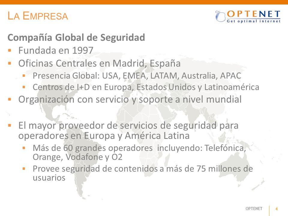OPTENET 4 L A E MPRESA Compañía Global de Seguridad Fundada en 1997 Oficinas Centrales en Madrid, España Presencia Global: USA, EMEA, LATAM, Australia