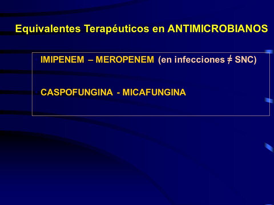Equivalentes Terapéuticos en ANTIMICROBIANOS IMIPENEM – MEROPENEM (en infecciones = SNC) CASPOFUNGINA - MICAFUNGINA