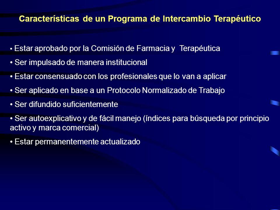 Características de un Programa de Intercambio Terapéutico Estar aprobado por la Comisión de Farmacia y Terapéutica Ser impulsado de manera institucion