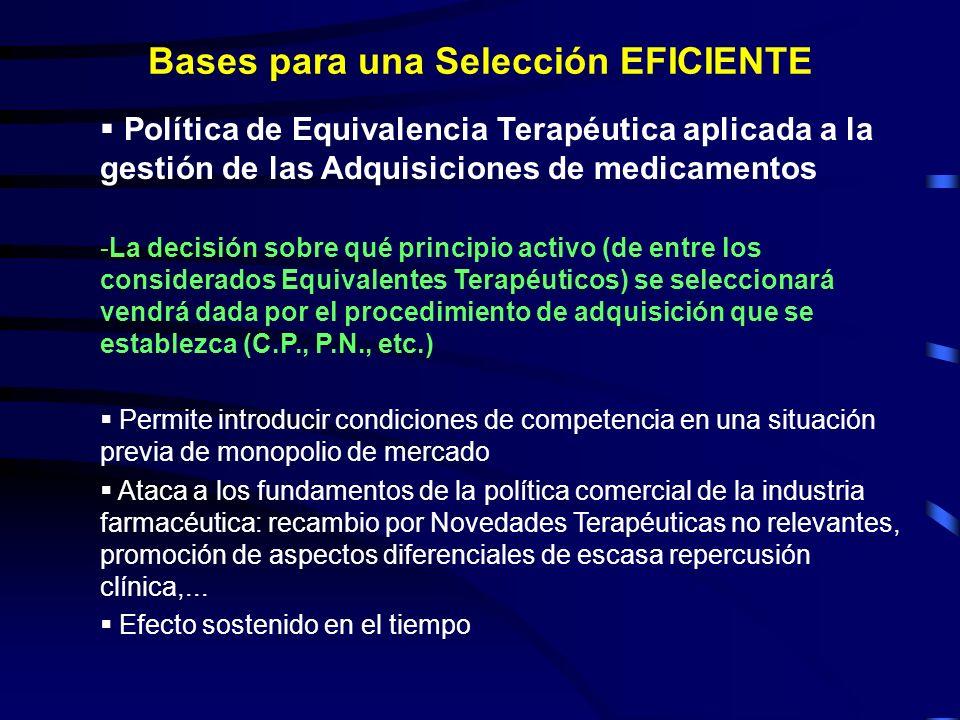 Política de Equivalencia Terapéutica aplicada a la gestión de las Adquisiciones de medicamentos -La decisión sobre qué principio activo (de entre los