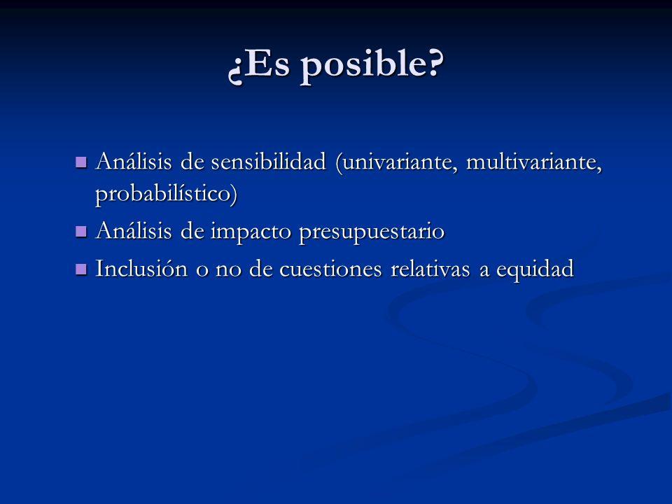 ¿Es posible? Resultados que deben ser incluidos Resultados que deben ser incluidos Fuente de resultados (ECAs, estudios de cohorte,…) Fuente de result