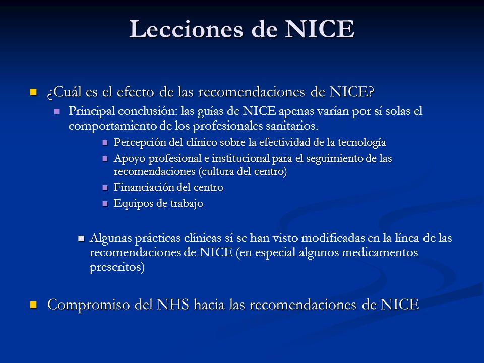 Lecciones de NICE (persuasión) ¿Cuál es el efecto de las recomendaciones de NICE? ¿Cuál es el efecto de las recomendaciones de NICE? Principal conclus
