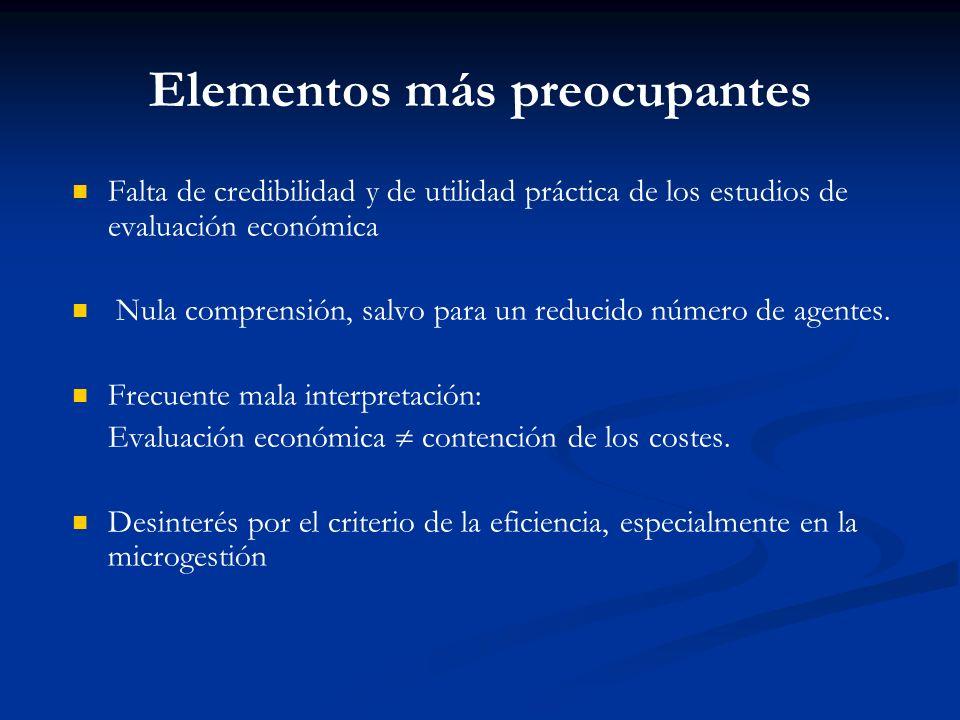 Principal conclusión del trabajo La utilización de los estudios de evaluación económica es muy limitada Barreras administrativas; barreras relativas a