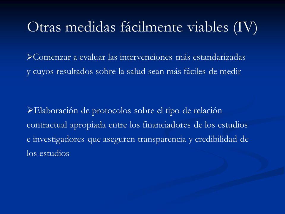 Otras medidas fácilmente viables (III) Facilitar el acceso de los resultados de estos trabajos en revistas de amplia difusión