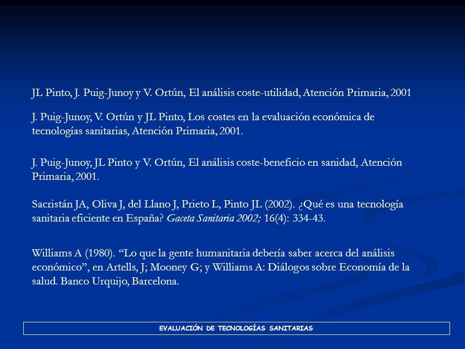 EVALUACIÓN DE TECNOLOGÍAS SANITARIAS Oliva J, Lobo F, López-Bastida J, Duque B, Osuna R. Costes no sanitarios ocasionados por las enfermedades isquémi