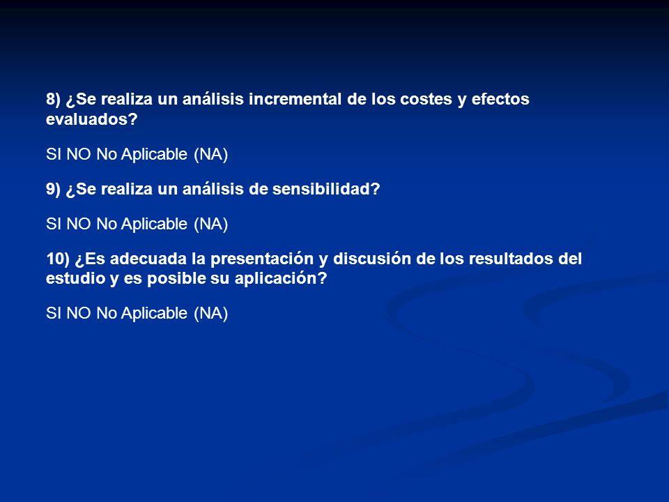 4) ¿ Se han identificado todos los costes y efectos relevantes de cada alternativa identificada? SI NO No Aplicable (NA) 5) ¿ Se han medido los costes