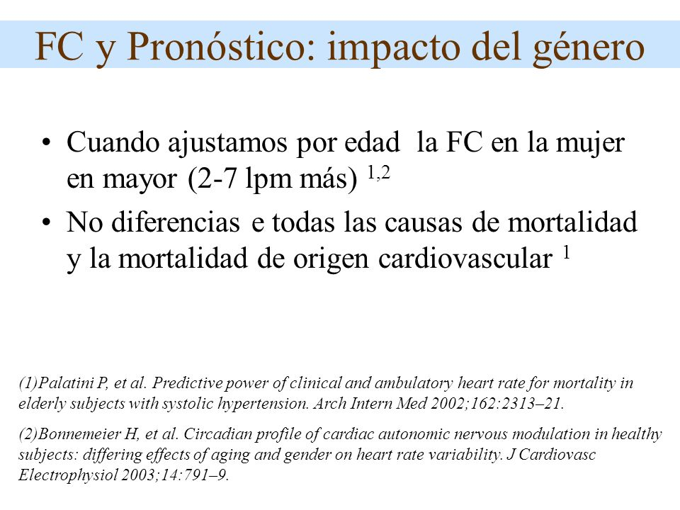 FC y Pronóstico: impacto del género Cuando ajustamos por edad la FC en la mujer en mayor (2-7 lpm más) 1,2 No diferencias e todas las causas de mortal