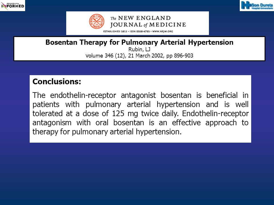 Conclusions: The endothelin-receptor antagonist bosentan is beneficial in patients with pulmonary arterial hypertension and is well tolerated at a dos
