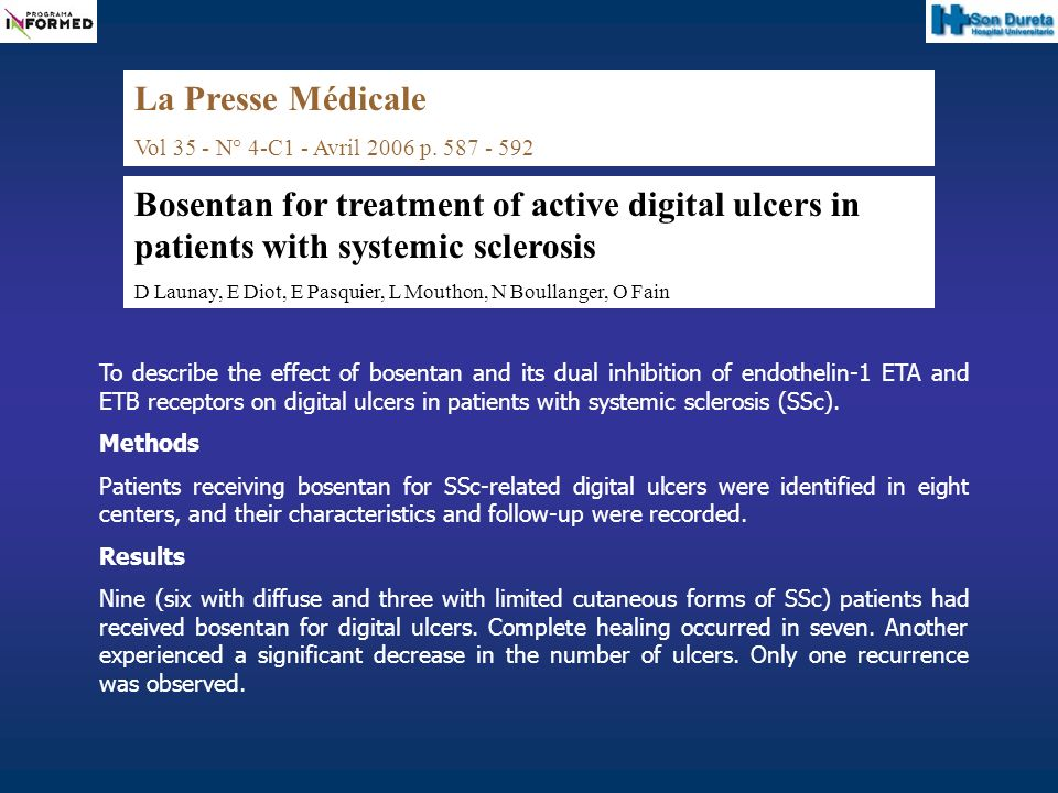 To describe the effect of bosentan and its dual inhibition of endothelin-1 ETA and ETB receptors on digital ulcers in patients with systemic sclerosis