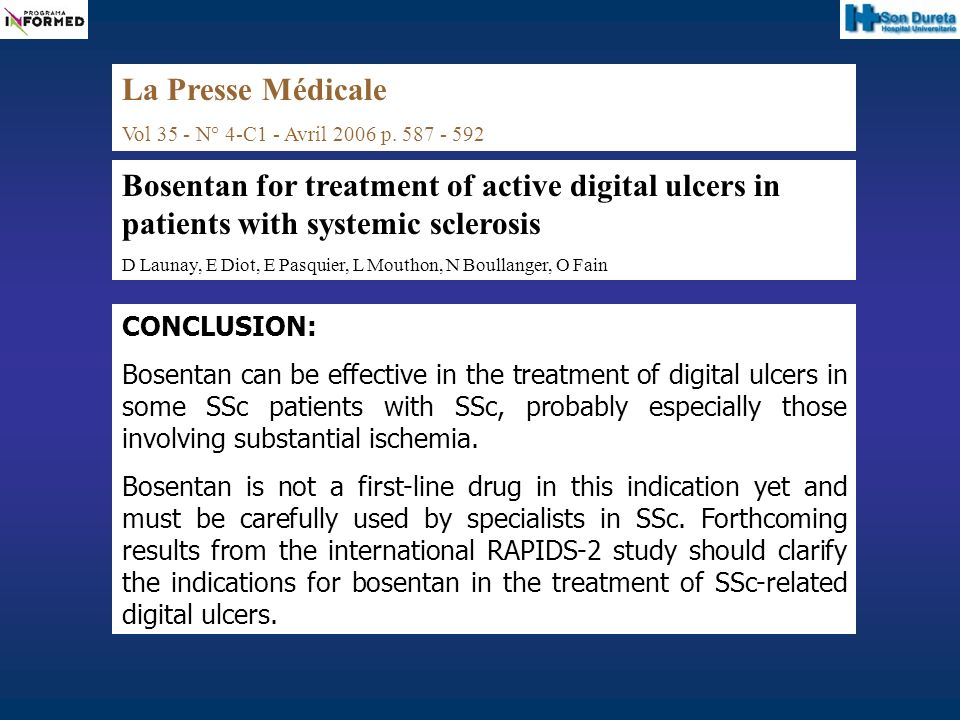 CONCLUSION: Bosentan can be effective in the treatment of digital ulcers in some SSc patients with SSc, probably especially those involving substantia