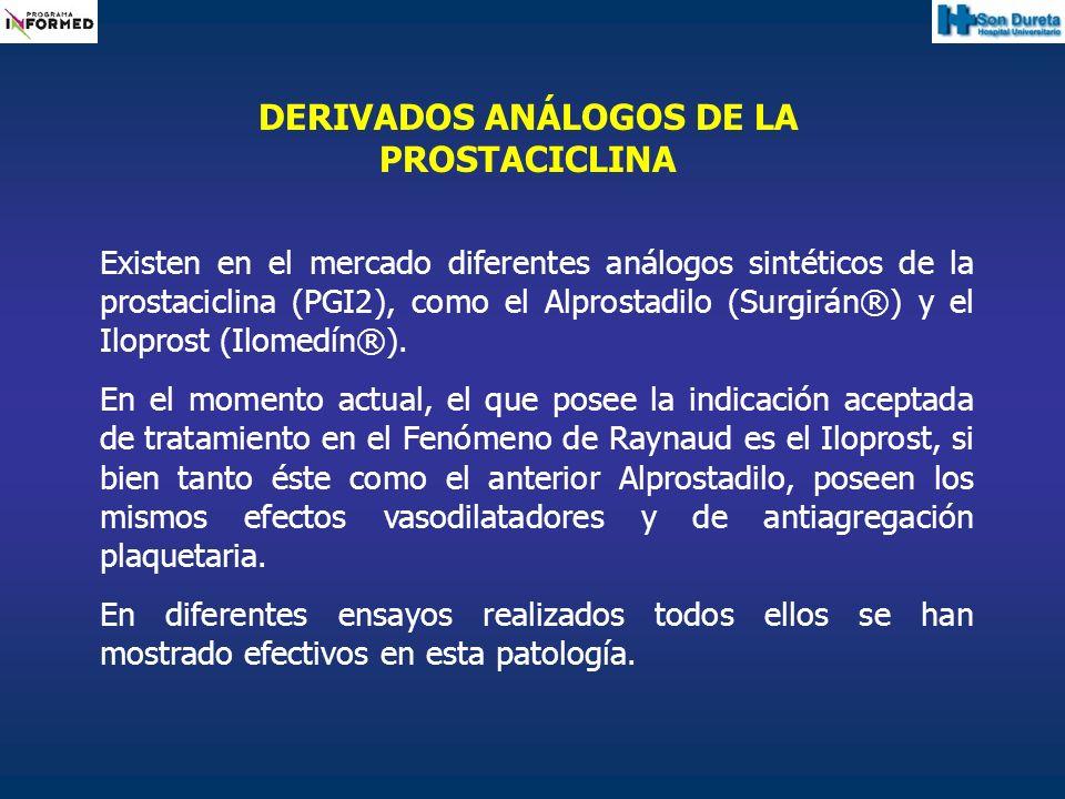 Existen en el mercado diferentes análogos sintéticos de la prostaciclina (PGI2), como el Alprostadilo (Surgirán®) y el Iloprost (Ilomedín®). En el mom